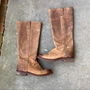 Vintage Justin Round Toe Calf High Riding Boots
